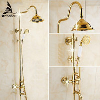 Ванна комплекты роскошный золотой латуни смеситель для душа Установить Одной ручкой один держатель двойной Управление смеситель для ванно