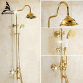 Free shipping Wholesale And Retail  Luxury Gold Brass Shower Faucet Set Single Ceramic Handle Tub Mixer Hand Shower GY-8336