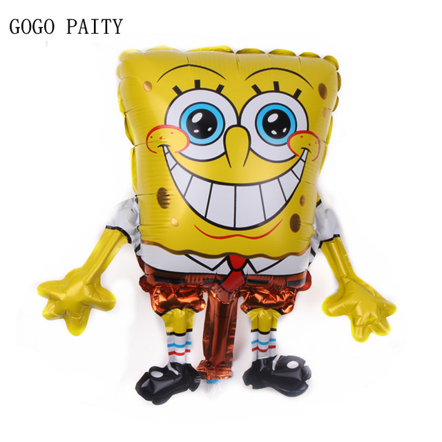 GOGO PAITY Free Shipping mini children's toys SpongeBob aluminum balloons birthday party decoration balloon wholesale