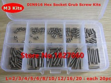 200pcs M3 Cup Point Hex Socket Set Screw DIN916 stainless steel Grub screws M3*2/3/4.../20mm