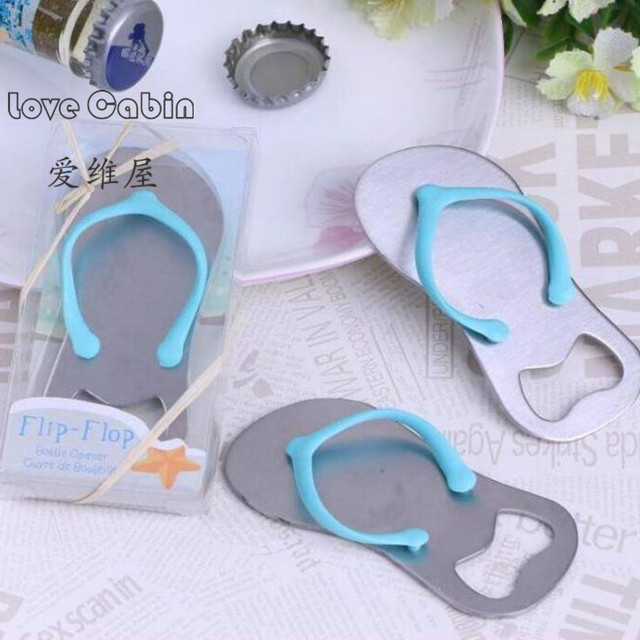 a74eff59bd7b0 Creative novelty items flip flops bottle opener in gift box 10pcs wedding  favors and gift giveaways