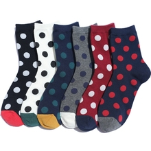 Fashion Color Polka Dots Cotton Women Socks Autumn Winter New Vintage Crew High Quality Cute Lady