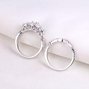 Image 4 - Newsheハロー女性のための 925 スターリングシルバー婚約指輪クラシックジュエリー 1.3 ctラウンドカットaaaキュービッジルコニア
