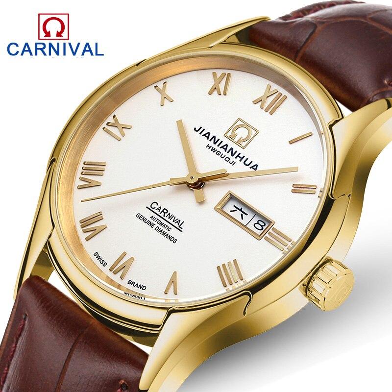 Karnawał luksusowej marki mężczyźni biznes automatyczne zegarki mechaniczne prawdziwej skóry wodoodporny zegarek świetlna mężczyzna zegar reloj hombre w Zegarki mechaniczne od Zegarki na  Grupa 2