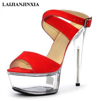 LAIJIANJINXIA New Design Sexy Night Club Party Women Dancing Shoes 15cm StilettoHigh Heels Platform Sandals Pole Dance Shoes