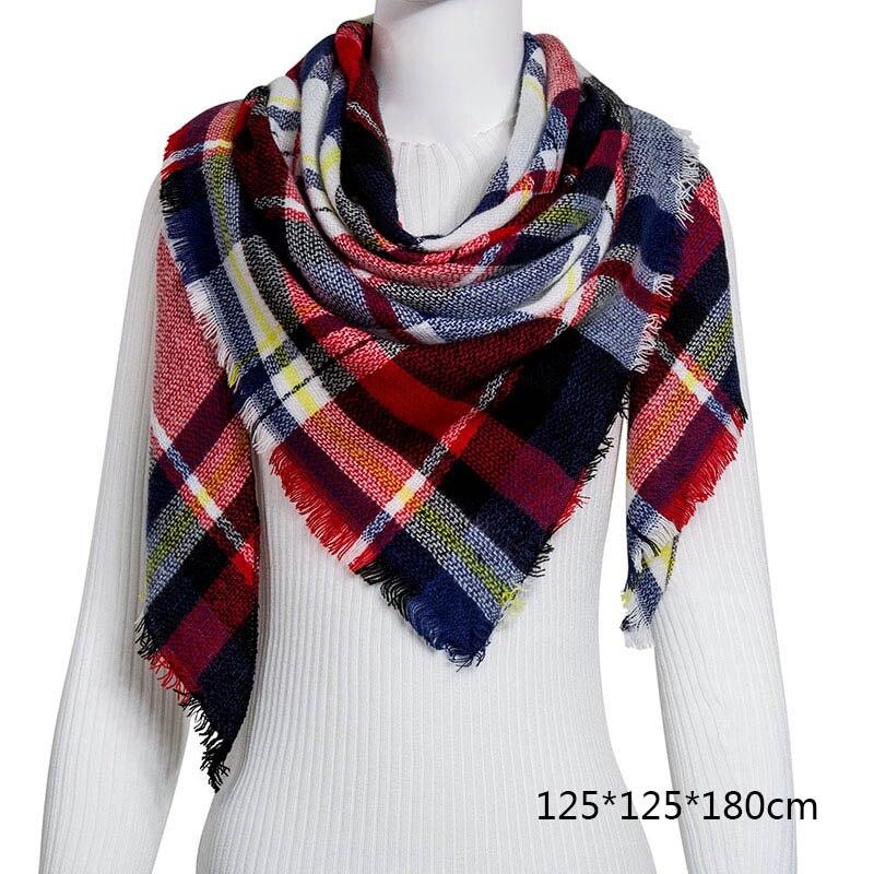 Горячая Распродажа, Модный зимний шарф, Женские повседневные шарфы, Дамское Клетчатое одеяло, кашемировый треугольный шарф,, Прямая поставка - Цвет: B5