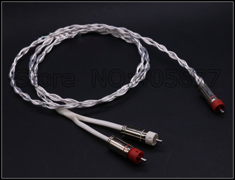 High Quality Silver Plated RCA Male Plug to 2RCA Audio Cable RCA to 2RCA Subwoofer Audiophile hifi silver plated audio cable 2 rca male to 2 xlr hifi plug 3 pin male audiophile