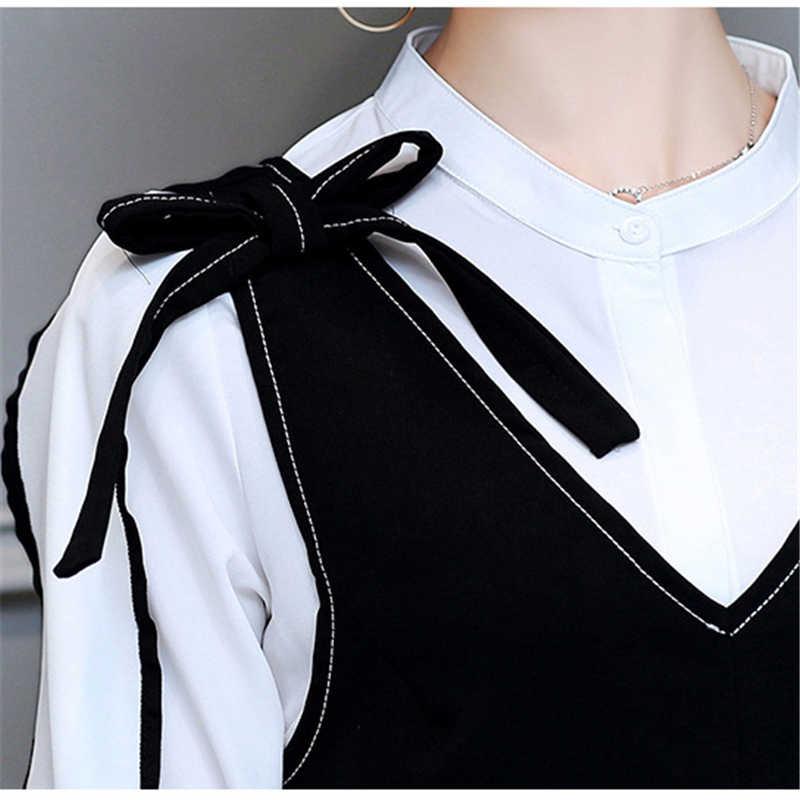 2018 新ファッションエレガントなプラスサイズの女性ドレススーツ春夏ツーピースセット女性白シャツ + 黒ベストドレス A217