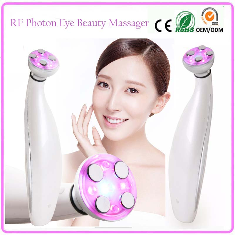 Mini Handheld RF Red Blue Led Photon Light Therapy Eye Wrinkle Pouch Removal Beauty Care Skin Tightening Lifting Massager anti acne pigment removal photon led light therapy facial beauty salon skin care treatment massager machine