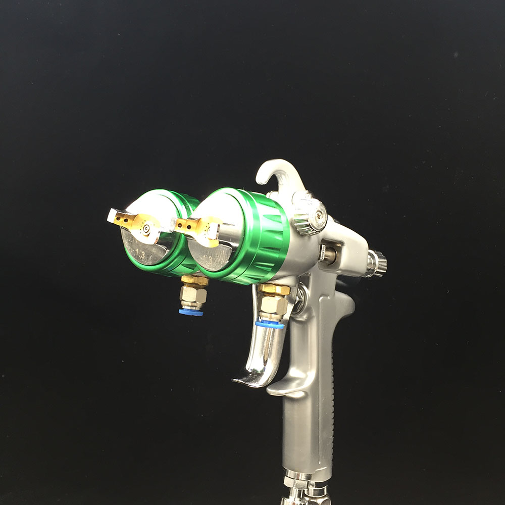 SAT1189 double nozzle spray gun high pressure painting tool professional air compressor paint sprayer paint spray gun 1 5mm nozzle gravity 400ml cup stainless steel high pressure painting gun