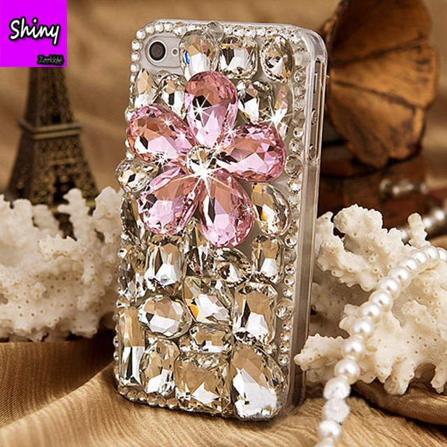 pretty nice f2e47 90a17 US $11.89 15% OFF|2018 Rhinestones Top Quality Phone Case For iphone 7 8  Plus 6 6S Stones Fashion 3D Bling DIY Crystal Back Cover For iPhone X-in ...
