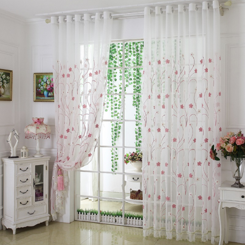 Colorful Living Room Curtains: Fashion Design Modern Transparent Tulle Curtains Window