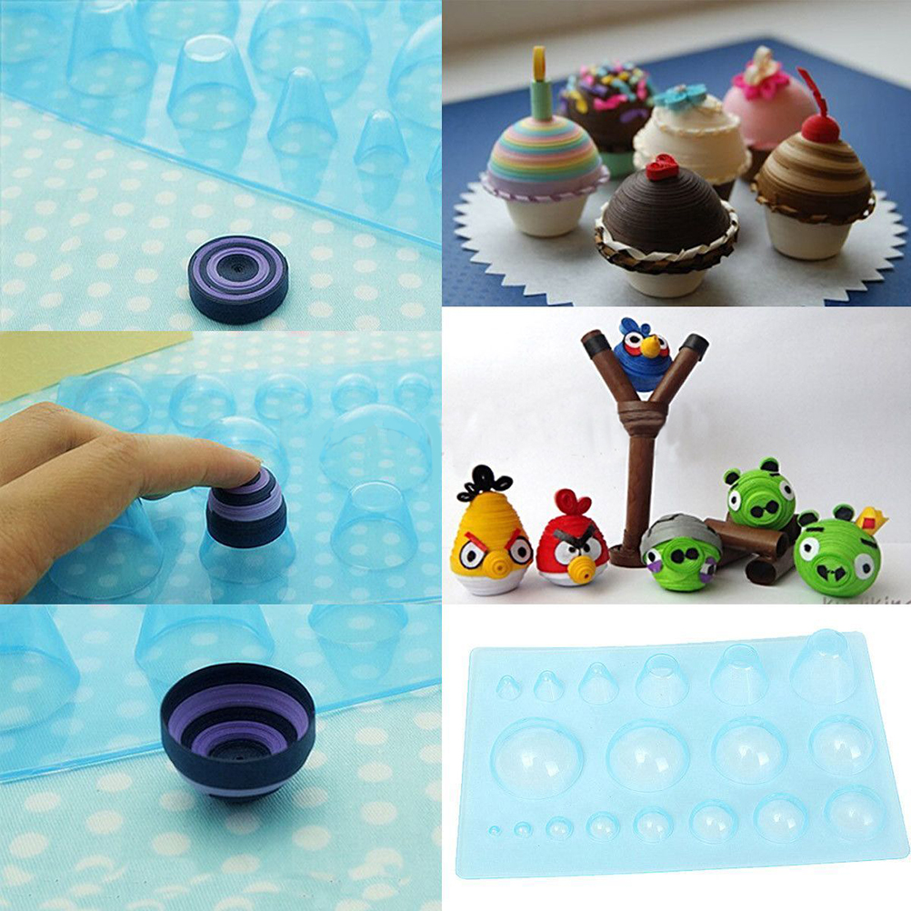 1Pcs Blue Paper Quilling Mould Plastic Half Ball Domes DIY Scrapbooking Decoration For Kid Paper Craft Tool Supplies 13x20cm