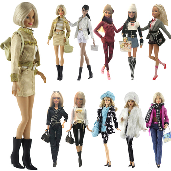 NK One Set Doll Dress Fashion Uniforms Cool Winter Clothing Super Model Coat For Barbie Doll Accessories Girl Gift Toys  A1 JJ 1