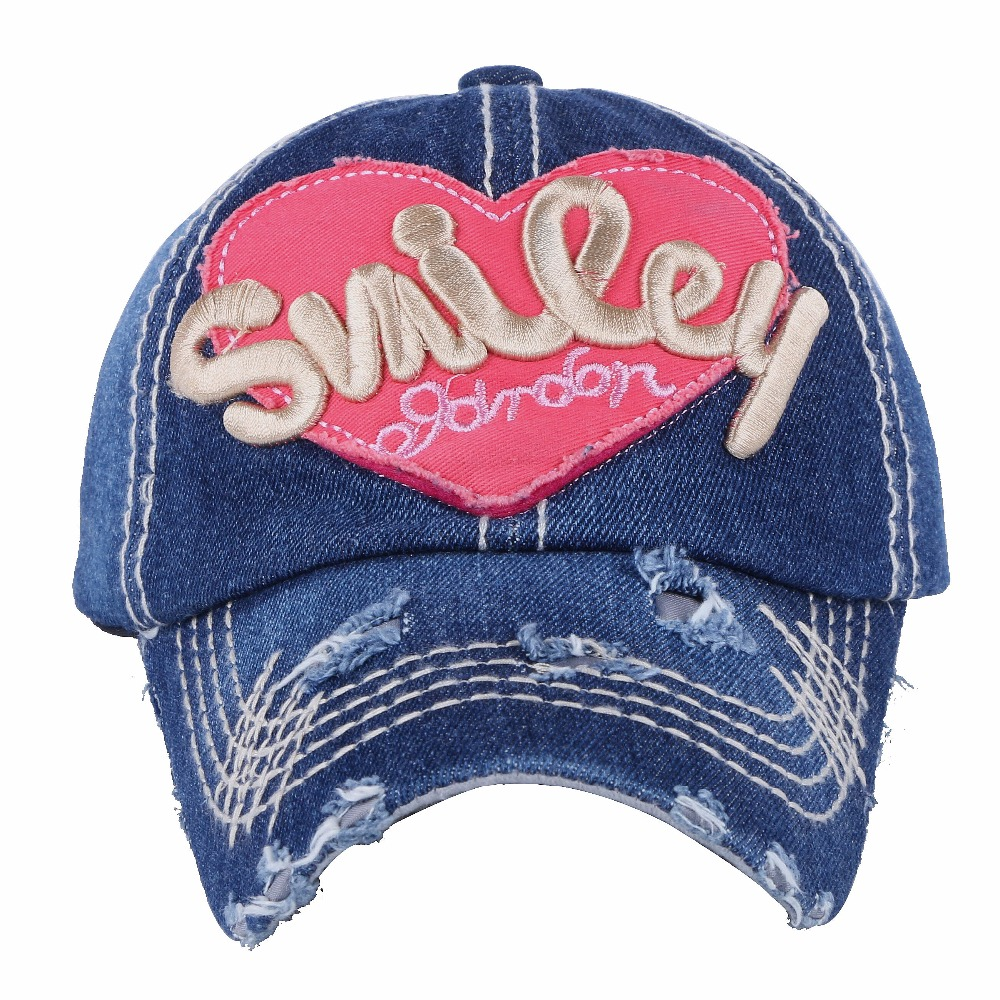 047b4d92ee8f83 OHCOXOC new design women girl cute baseball cap hat character heart pattern denim  cotton outdoor beauty caps -in Baseball Caps from Men's Clothing ...