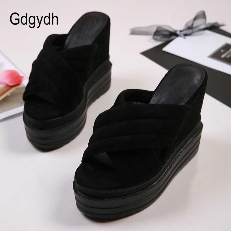 Gdgydh ผู้หญิงรองเท้าแตะแพลตฟอร์มรองเท้าส้นสูงสีดำรองเท้าสุภาพสตรีรองเท้าฤดูร้อนผู้หญิง Wedges Wedges รองเท้าแตะสบายรองเท้าใหม่