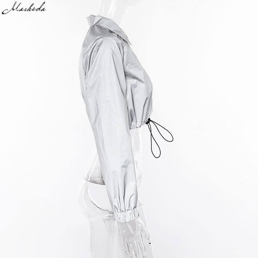 HTB1p0NVX0fvK1RjSszhq6AcGFXaC Macheda Fashion Women Reflective Turn-down Collar Buckle Drawstring Jackets Long Sleeve Cropped Coat Ladies Basic Jacket Ne'w
