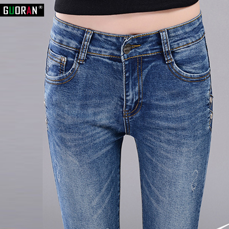 women pants high waist   jeans   denim 2017 new cotton slim tight designer blue   jeans   pencil pants women skinny stretch trousers