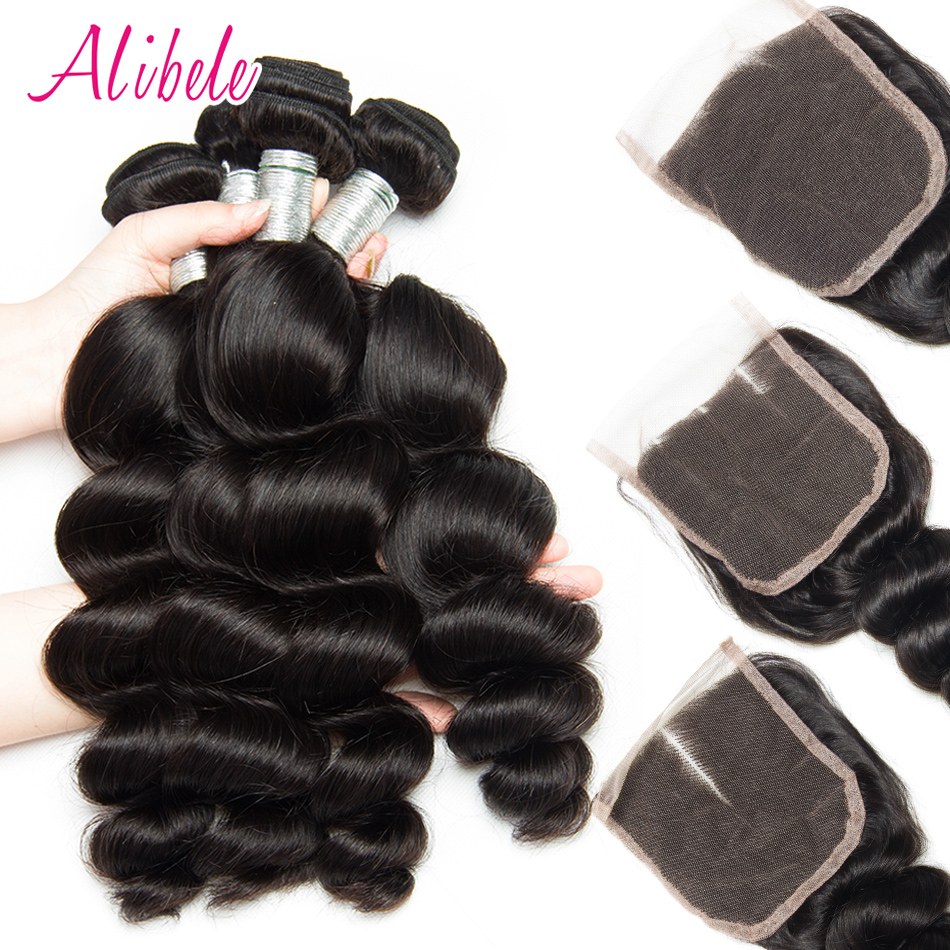 Brazilian Loose wave Bundles With Closure 3 4 Bundles ALIBELE HAIR Remy Human Hair Weave Bundles