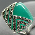 FREE SHIPPING>>>@@ unsex 14*15mm Square Natural Green Agate 925 Silver Ring Size 7/8/9/10