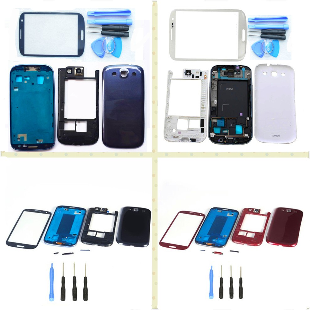 Replacement Full Housing Cover Case Outer Screen Glass Lens For Samsung Galaxy S3 i9300 With Logo