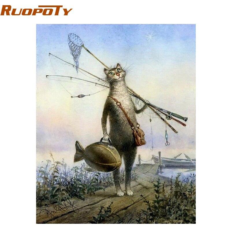 RUOPOTY-cadre photo animaux de pêche chat | Kit de peinture à main par numéros  dessin peinture par numéros  Art mural  cadeau Unique pour enfants 40x50cm