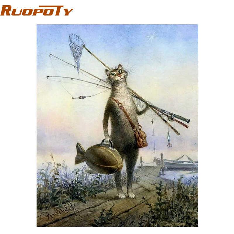 RUOPOTY рамка для кошек, рыбацких животных, сделай сам, рисование по номерам, набор для рисования, краски по номерам, настенное искусство, уникальный подарок для детей 40X50 см