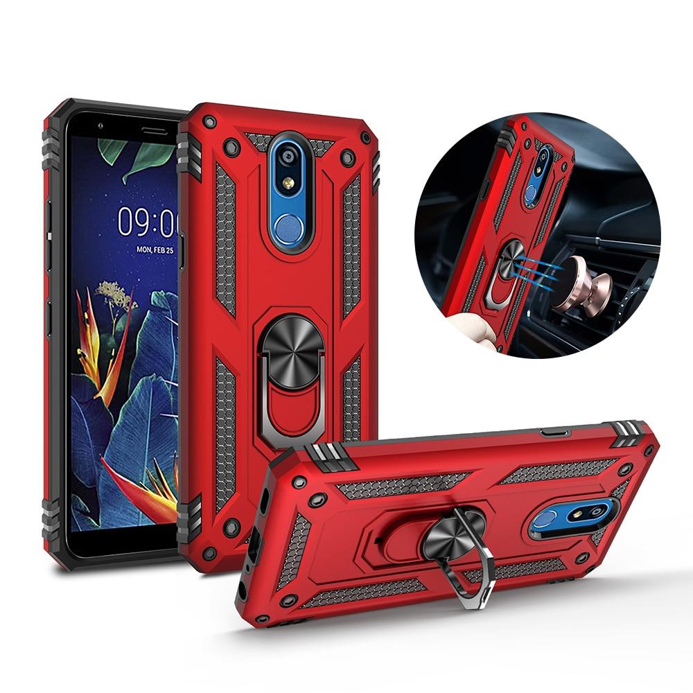 Pour LG K40 K50 etui support armure hybride magnétique support béquille anneau de doigt étui pour LG Stylo 5 aristo 2 3 housse
