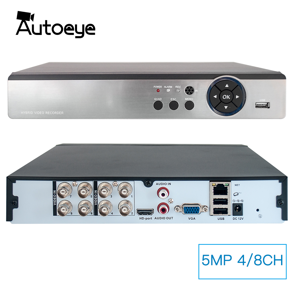 Autoeye 4CH 8CH 5MP Hybrid DVR 1 IN 5 CCTV DVR Support 5MP AHD Camera P2P Audio Input XMEye