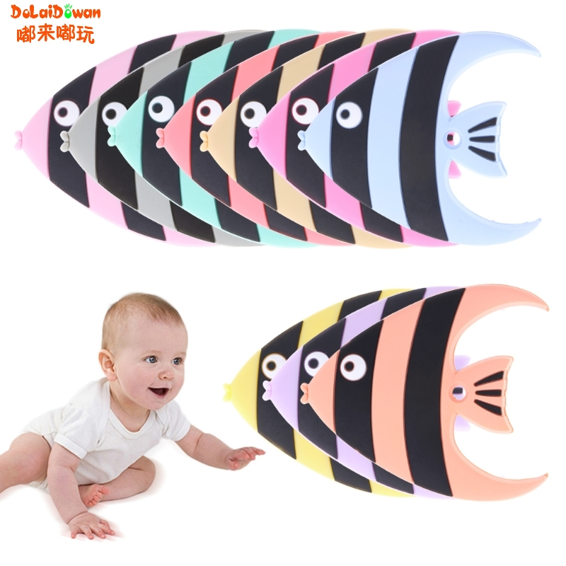 Silicone Clownfish Teether Pendent DIY Teething Baby Fish Pram Toy Pacifier Clip