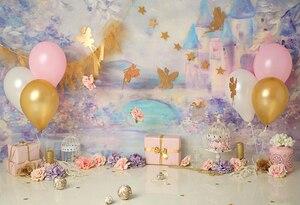 HUAYI Цветочные воздушные шары торт smash декоративный фон для новорожденных девочек ребенок душ фон для фотосъемки на день рождения фотосессия...