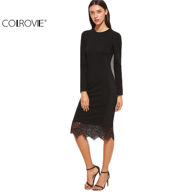 COLROVIE Elegant Dresses Women Business Casual Clothing Black Bodycon Dress  Black Lace Trim Long Sleeve Pencil 7bf0bad13670