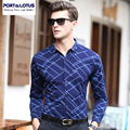 PORT&LOTUS Brand Clothing Men Shirts Long Sleeves Thin Shirt For Mens Camisa Masculina Argyle Male Casual Blouse YT019 63223