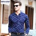 PUERTO y la Marca de LOTO Ropa Camisas de Los Hombres Camisa Para Hombre de Manga Larga Delgada Camisa Masculina Argyle Casual Male Blusa YT019 63223
