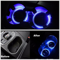 2pcs Universal Solar LED Car Cup Holder Mat Pad Bottle Drinks Coaster Built In Vibration Light