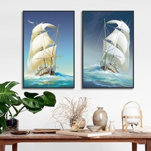 Nordic Poster Sailing Boat Decoration Art Wall Pictures Seascape Canvas Painting for Living Room Modern Home Decor No Frame