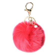 1PC Women Artificial Rabbit Fur Ball Keychain Bag Plush Car Key Ring Car Key Pendant Car Styling Free Shipping(China (Mainland))