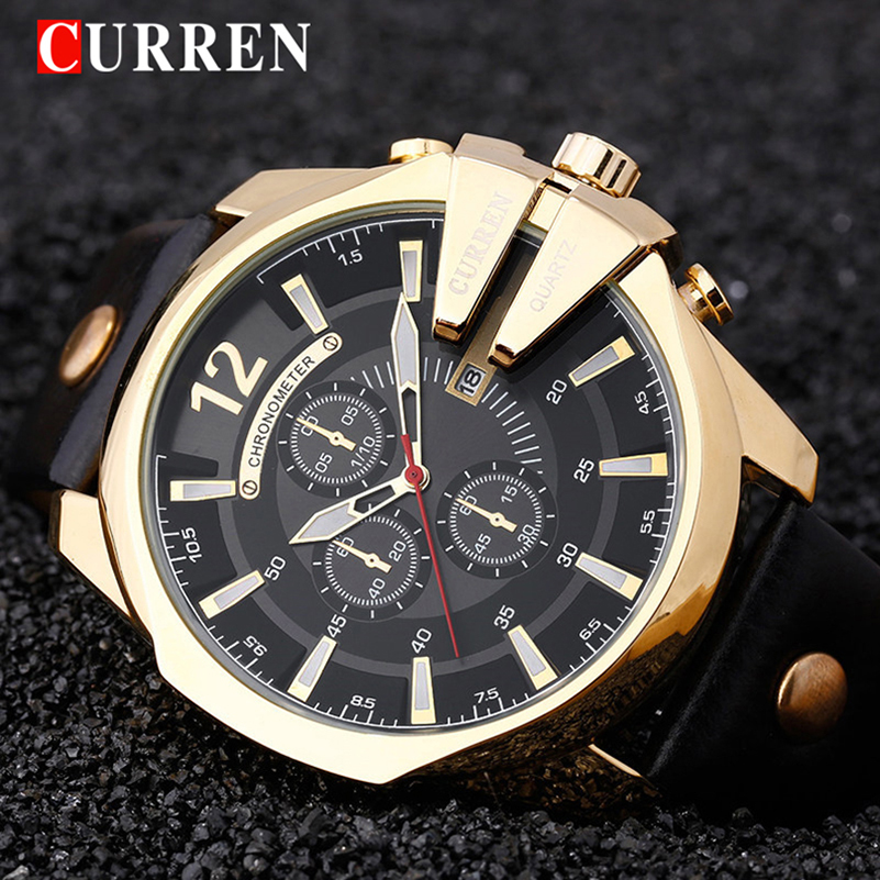 CURREN Mens Watches Brand Luxury Leather Casual Quartz Watch Men Military Sport Clock Gold Watch Relogio Masculino 8176 curren mens watches top brand luxury relogio masculino big dial men quartz military wrist watch men clock men s watch 8176