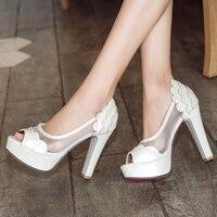 ASILETO 11.5cm High Heels ladies Shoes woman Platform pumps peep toe Heels wedding party Shoes breathable mesh tenis feminino