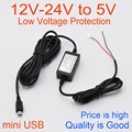 Car Charger DC Converter Module 12V 24V To 5V 2A with mini USB Cable fit Car DVR Camera / GPS Cable Length 3.5m 11.48ft