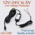 Cargador de coche DC Módulo Convertidor 12 V 24 V A 5 V 2A con mini ajuste DEL Cable USB Cámara Del Coche DVR/GPS Cable Longitud 3.5 m 11.48ft