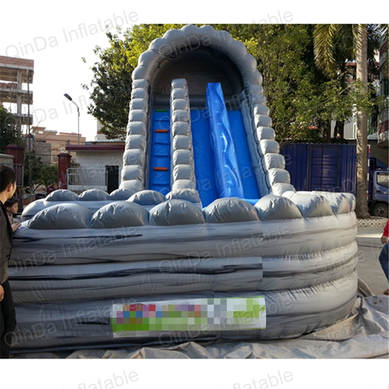 Guangzhou Qinda PVC vinyl inflatabel wet slide, kids inflatable slides, giant double lane slide commercial inflatable water slide with pool made of pvc tarpaulin from guangzhou inflatable manufacturer