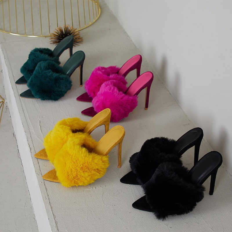 2019 New European Station Sandals Candy Color Luxury Rabbit Fur High Heel Sandals Slippers Large Women Shoes Size 35-43