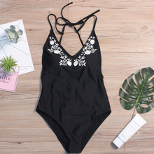 Women Bikini Push Up High Waist Black Embroidered Flower