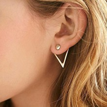 Antique Gold Color Triangle Hanging Stud Earrings for Women New Fashion 2019 Hot Big Metal Hollow Earrings Simple Jewelry Gift недорого