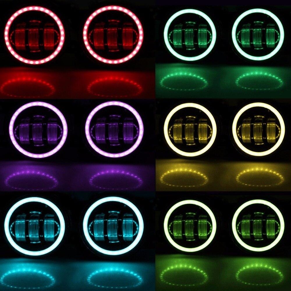 4 ''Auto teile RGB angel eye app auto nebelscheinwerfer led scheinwerfer für Jeep Wrangler JK TJ LJ Grand Cherokee 4'' Fahrleuchte