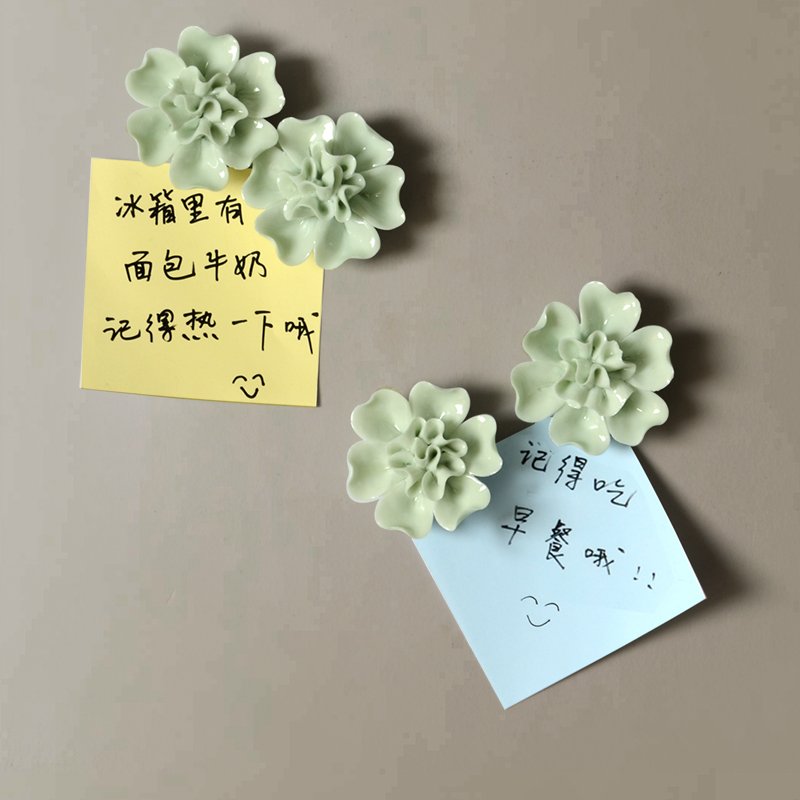 Home accessories creative magnets refrigerator magnets plant flower message board three-dimensional magnet ceramic decorative ma