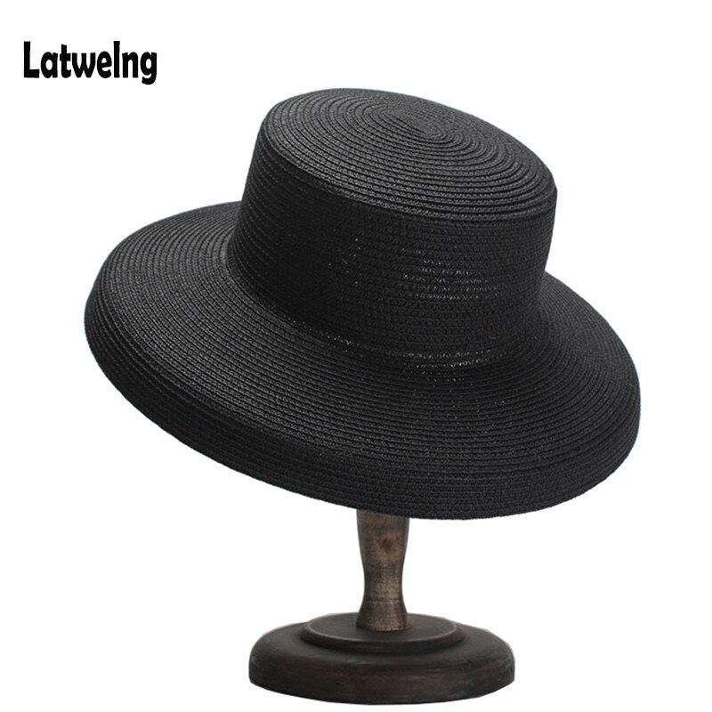 d381aa54b Vintage Church Hats Luxury Brand Women Straw Sun Hats Summer Sun Hat For  Lady Flat Panama Beach Hat Party Black Cap Wholesale