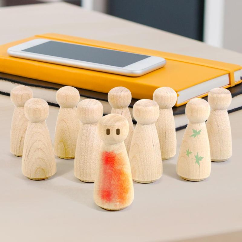 New 10pcs Wooden Peg Dolls Unfinished Crafts DIY Paint Stain Kid's Party Favor Wedding Home Decor Wood Craft People Nesting Set