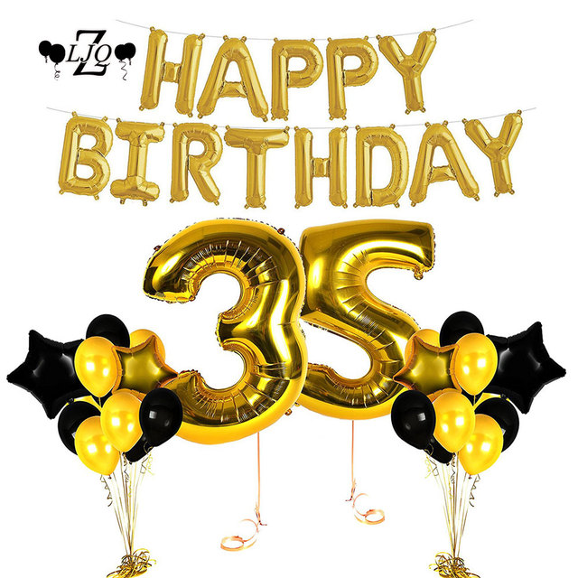 ZLJQ 35th Birthday Decorations Happy Bday Banner Party Kit Pack B Day Celebration Supplies With Stars Balloons For Men Or Women